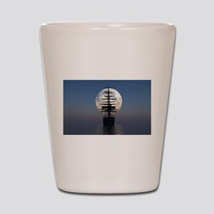 Ship Sailing In The Night Shot Glass