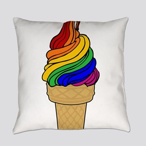 Rainbow Swirl Ice Cream Everyday Pillow