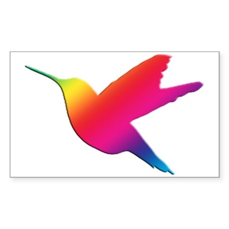 Rainbow Hummingbird Rectangle Sticker