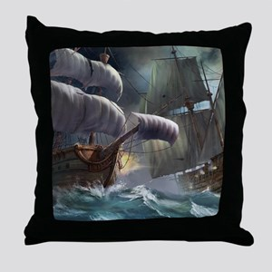 Battle Between Ships Throw Pillow