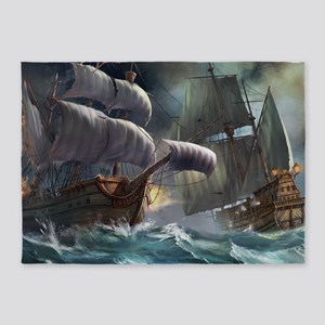 Battle Between Ships 5'x7'Area Rug
