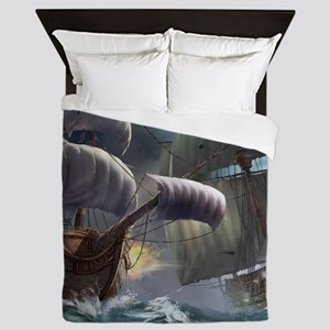 Battle Between Ships Queen Duvet