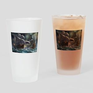 Battle Between Ships Drinking Glass