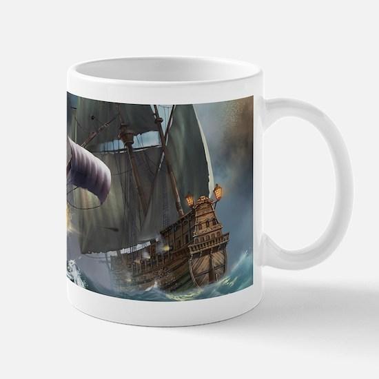 Battle Between Ships Mugs