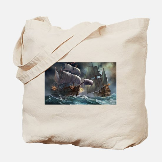 Battle Between Ships Tote Bag