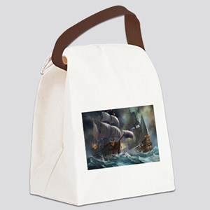 Battle Between Ships Canvas Lunch Bag
