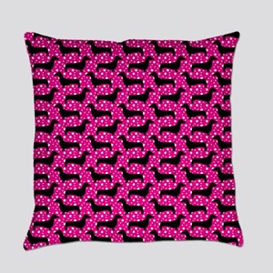 Pink Polka Dachshunds Everyday Pillow