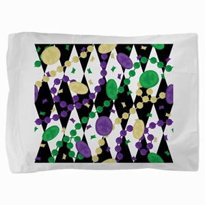 Mardis Gras Beads Pillow Sham