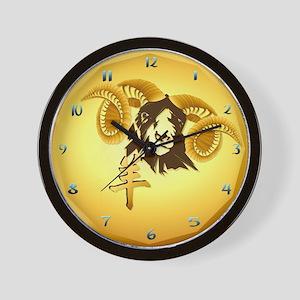 Year Of The Sheep-gold Wall Clock
