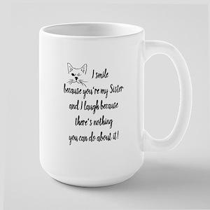 Fun Sister Saying Quote Cute Winking Cat Mugs