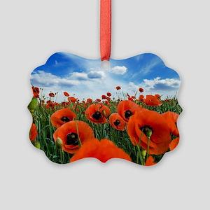 Poppy Flowers Field Picture Ornament