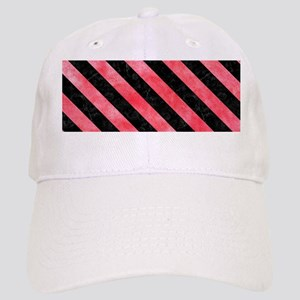 STRIPES3 BLACK MARBLE & RED WATERCOLOR Cap
