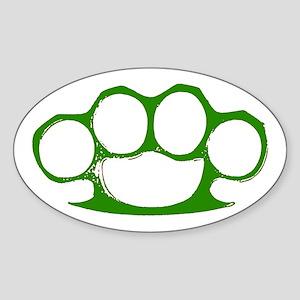 Green Brass Knuckles Oval Sticker
