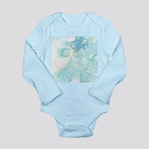 Icy Teal Blue Watercolor Body Suit