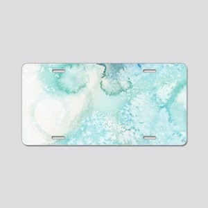 Icy Teal Blue Watercolor Aluminum License Plate