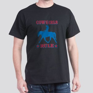 Red & Blue Cowgirls Rule Dark T-Shirt