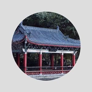 "Pavilion, Lake Ronghu, Guilin, China 3.5"" Button"