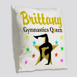 GYMNAST QUEEN Burlap Throw Pillow