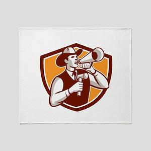 Cowboy Auctioneer Bullhorn Gavel Shield Throw Blan