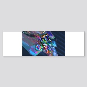 Super Crayon Colored Dirt Bike Care Bumper Sticker