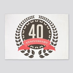 40 Years Anniversary Laurel Badge 5'x7'Area Rug
