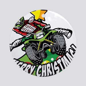 ATV Quad Kick Christmas Round Ornament
