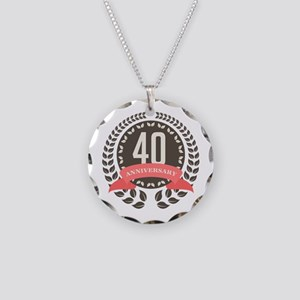 40 Years Anniversary Laurel Necklace Circle Charm