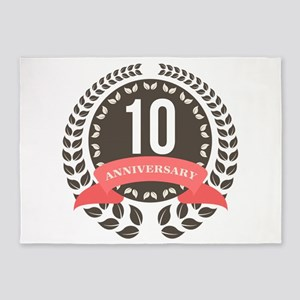 10 Years Anniversary Laurel Badge 5'x7'Area Rug