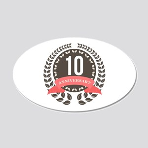 10 Years Anniversary Laurel 20x12 Oval Wall Decal
