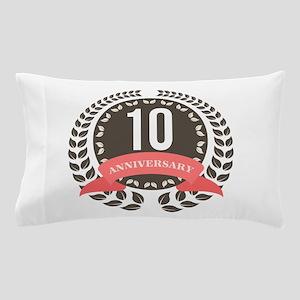 10 Years Anniversary Laurel Badge Pillow Case