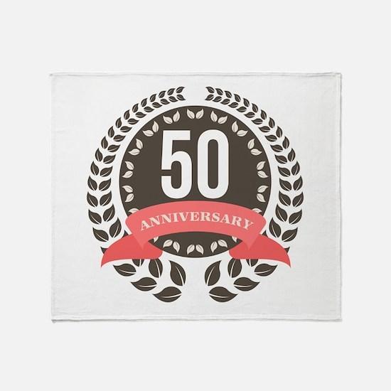 50 Years Anniversary Laurel Badge Throw Blanket
