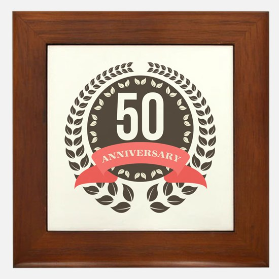 50 Years Anniversary Laurel Badge Framed Tile
