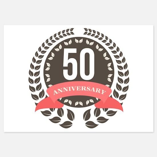 50 Years Anniversary Laurel Badge Invitations