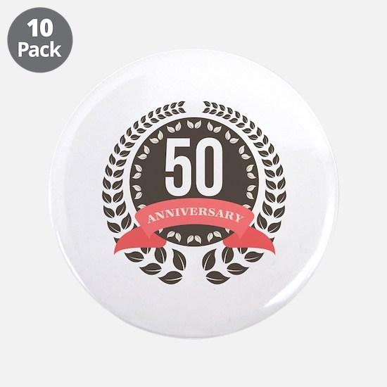 "50 Years Anniversary Laurel 3.5"" Button (10 pack)"