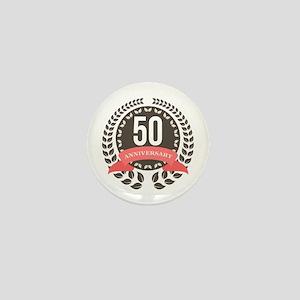50 Years Anniversary Laurel Badge Mini Button