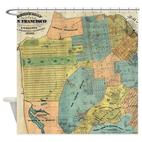 Vintage Map of San Francisco (1890) Shower Curtain by ADMIN_CP17960464