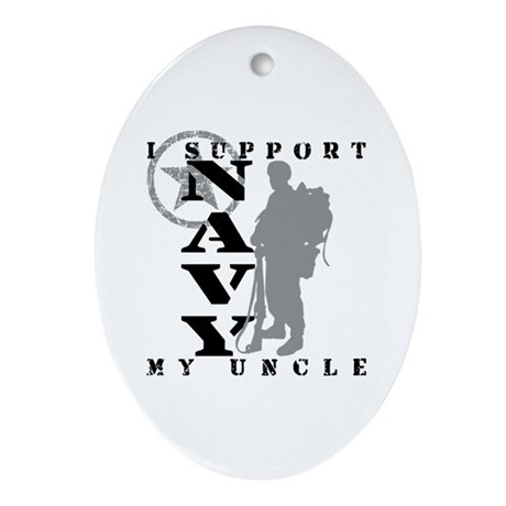I Support Uncle 2 - NAVY Oval Ornament