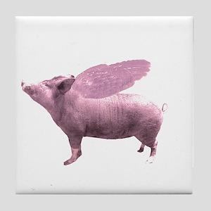 Pink Flying Pig Tile Coaster