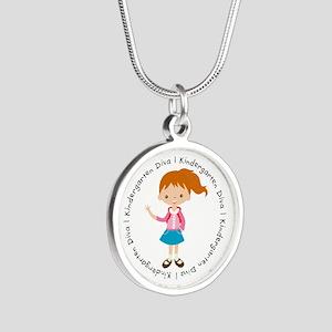 Cute Girl Kindergarten Diva Silver Round Necklace