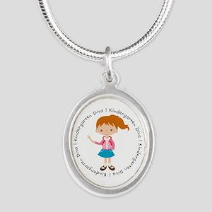 Cute Girl Kindergarten Diva Silver Oval Necklace