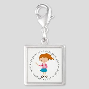Cute Girl Kindergarten Diva Silver Square Charm