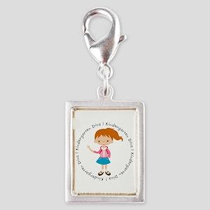 Cute Girl Kindergarten Diva Silver Portrait Charm