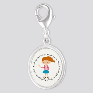 Cute Girl Kindergarten Diva Silver Oval Charm