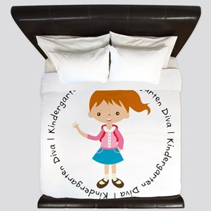 Cute Girl Kindergarten Diva King Duvet