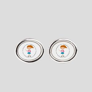 Cute Girl Kindergarten Diva Oval Cufflinks