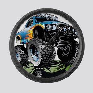 Monster Race Truck Crush Large Wall Clock