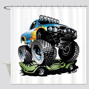 Monster Race Truck Crush Shower Curtain