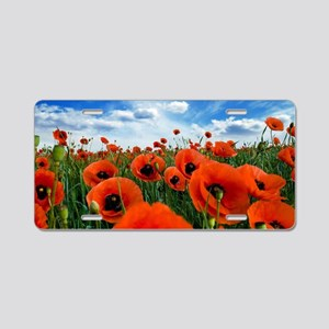 Poppy Flowers Field Aluminum License Plate