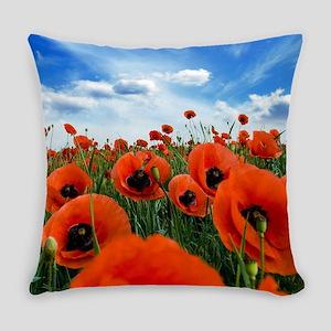 Poppy Flowers Field Everyday Pillow