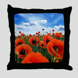 Poppy Flowers Field Throw Pillow